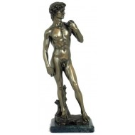David by Michelangelo bronze finish statue. Marble basement.