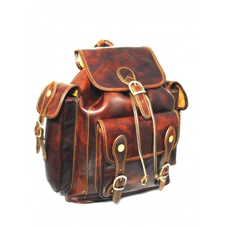 14a2efd588c10b Strong leather brown backpack made in Italy - Leather Goods Florence ...