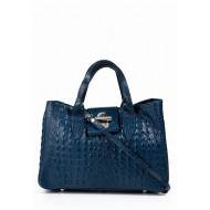 Genuine calf skin bag embossed crocodile blue Made in Italy