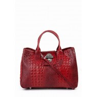 Genuine calf skin bag embossed crocodile red Made in Italy