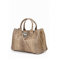 Genuine calf skin bag embossed crocodile taupe Made in Italy