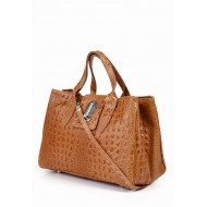 Genuine calf skin bag embossed crocodile brown Made in Italy