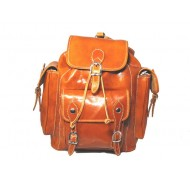 Strong leather tan backpack made in Italy