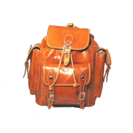 Strong leather backpack made in Italy