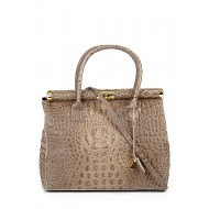 Genuine leather embossed crocodile hobo bag with strap Taupe