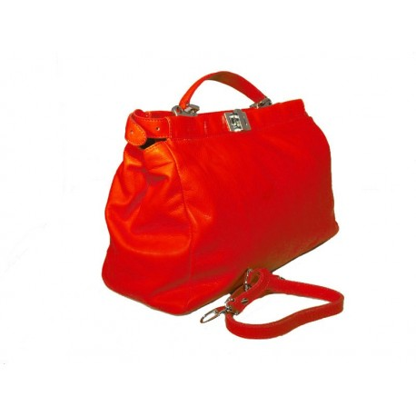 Soft leather handbag with strap based on Peek a boo model