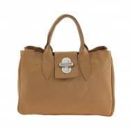 Genuine calf skin bag embossed deer tan. Made in Italy