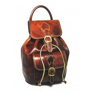 Strong small brown leather backpack made in Italy