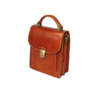 Genuine leather men's bag with strap