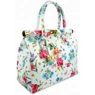 Genuine leather hobo bag with strap printed flowers
